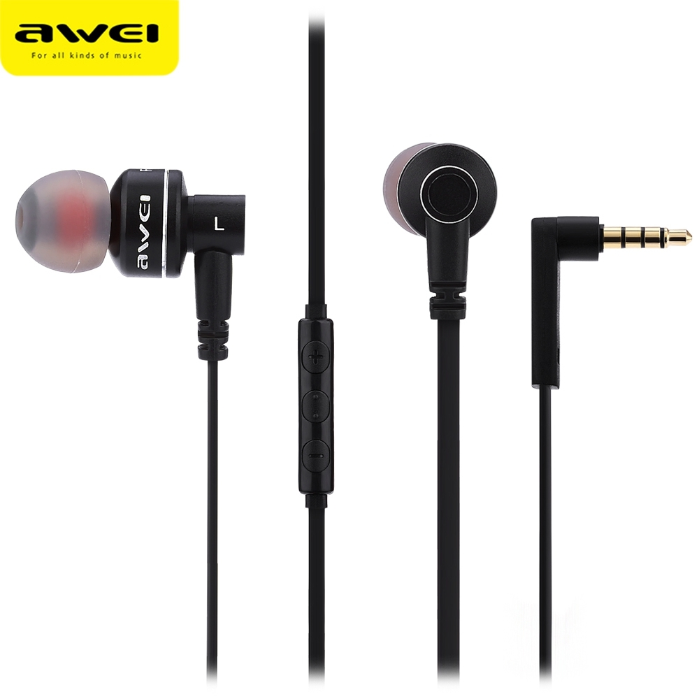 Awei ES 10TY In-Ear Earphone headset with Mic Microphone for mobilephones MP3 Stereo Bass Earbuds with 3.5mm jack fone de ouvido