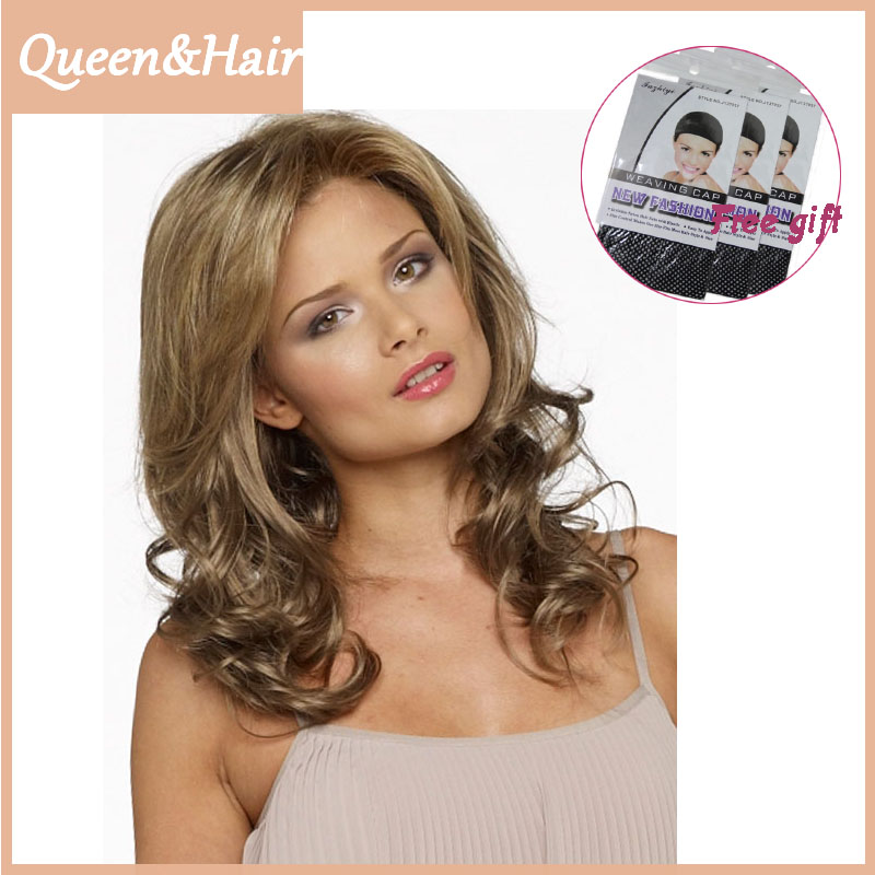 1PC Synthetic Long Natural Wavy Blonde Color 16inch 40cm Women Wig Heat Resistant Hair With Bangs For White