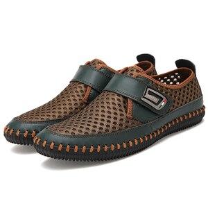 Image 4 - MAISMODA 2018 夏通気性メッシュの靴メンズカジュアルシューズ本革スリップブランドファッション夏の靴ビッグサイズ YL268