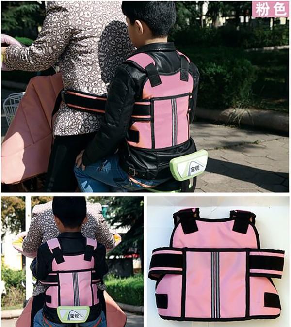 Universal Motorcycle Safety Belt Back Hold Protector Reflect Vest Belt Non-Slip Strap with Handle for Children