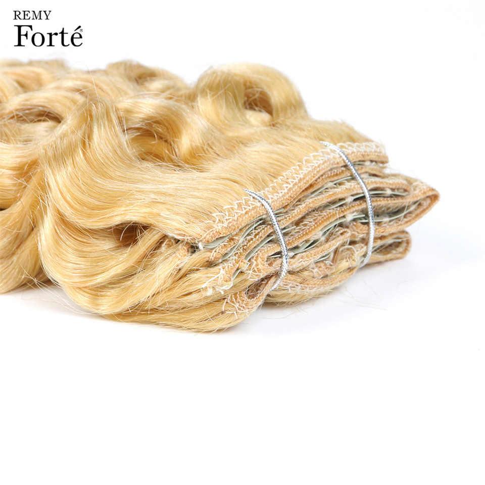 Remy Forte klip insan saçı postiş 613 sarı insan saçı 7 adet 115g klipsi-tam kafa Kinky kıvırcık klip Ins saç tokası