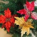 Hollow Glitter Poinsettia Fake Flower Christmas Tree Wedding Party Decoration Ornament Christmas  Gift  6LMF