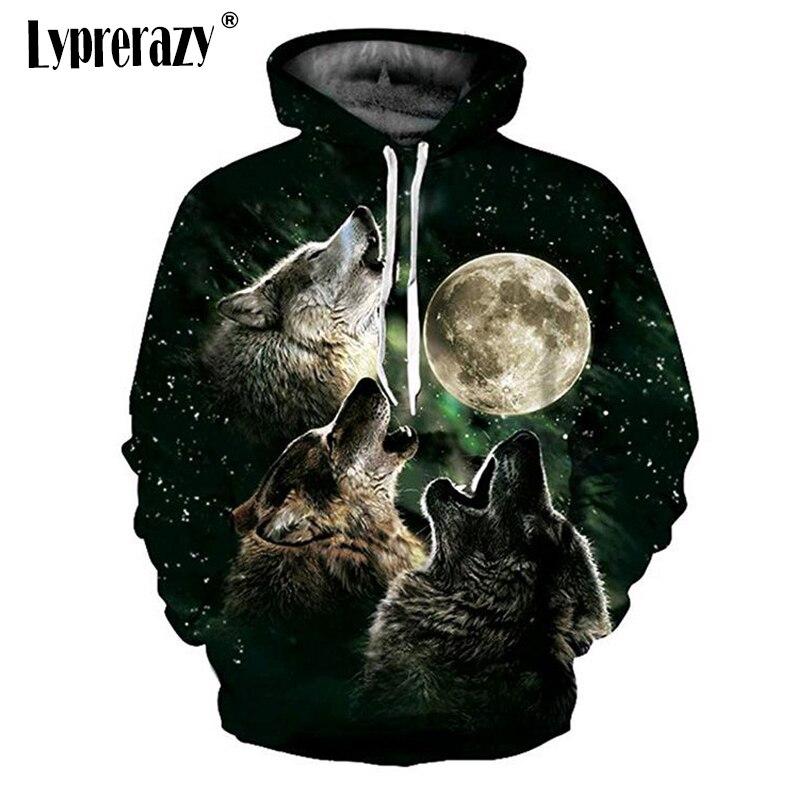 Lyprerazy New Fashion Wolf Moon Hoodies Men/women 3d Sweatshirts Print Threesome Wolf Hoody Hooded Hoodies Tracksuits Tops
