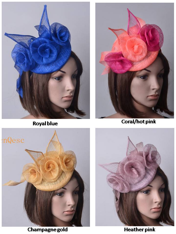 NEW Champagne gold royal blue heather hot pink coral Ladies hat sinamay  fascinator wedding Races Party.FREE SHIPPING. 2955228a02d