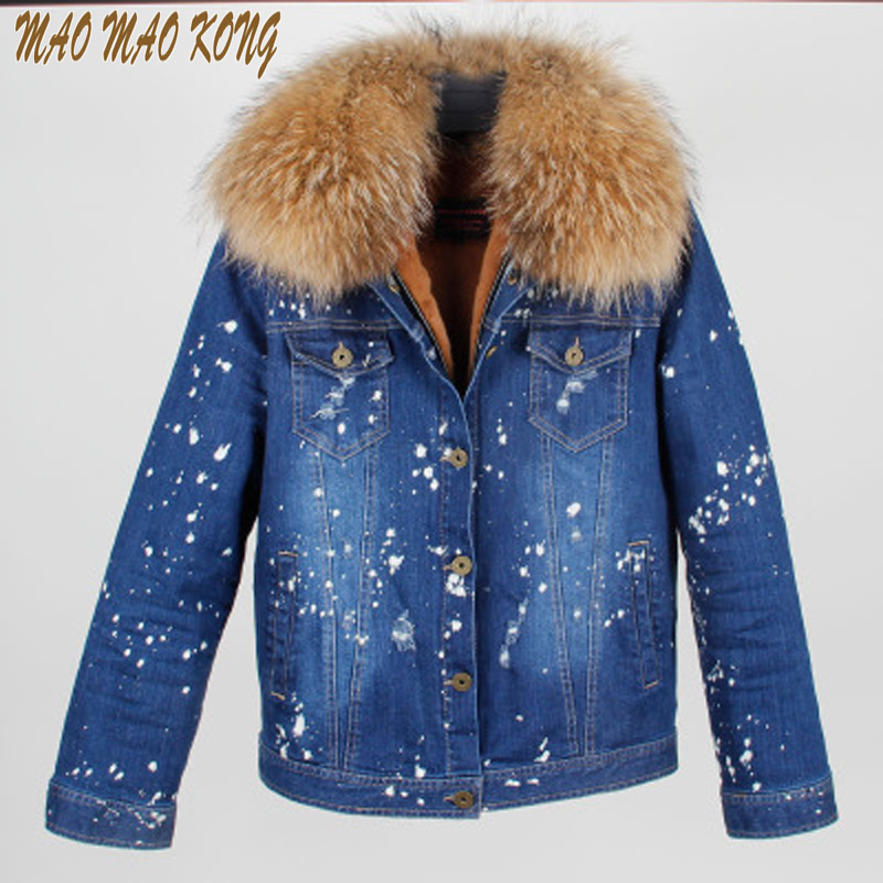 MAOMAOKONG Good quality Faux Fur Inner Cowboy bomber short jacket 100% Large Raccoon Fur Collar Women Winter Coat Jacket Parkas faux rabbit fur brown mr short jacket sleeveless with big raccoon collar fall coat