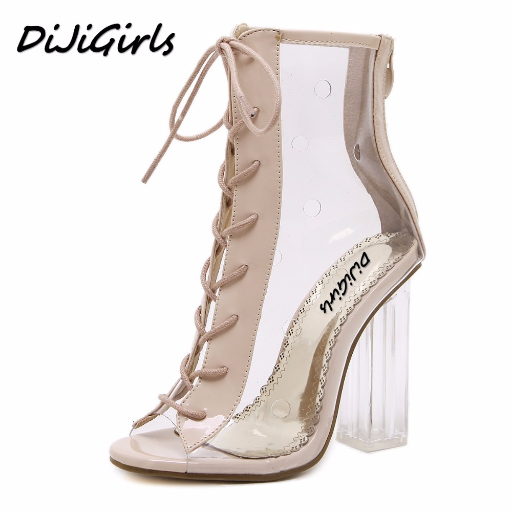 DiJiGirls summer Peep Toe ankle sandals boots Transparent Cross-tied crystal square heels women's high heels shoes woman pumps