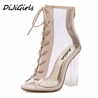 Yuemeifei Summer Peep Toe Ankle Sandals Boots Transparent Cross Tied Crystal Square Heels Women S High