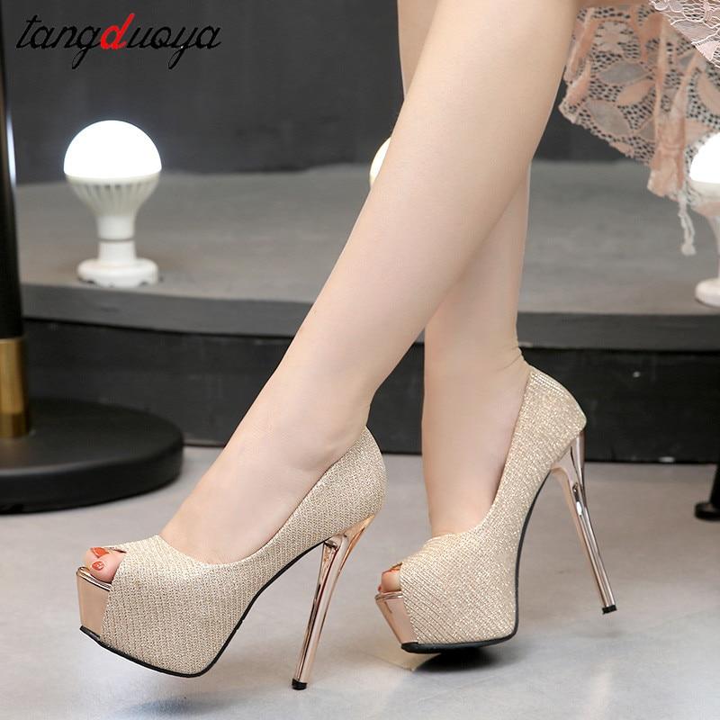 Sexy High Heels Party Pumps Women Shoes High Heel Platform Wedding Shoes Bride Pumps Peep Toe Stiletto Heels Tacones Mujer