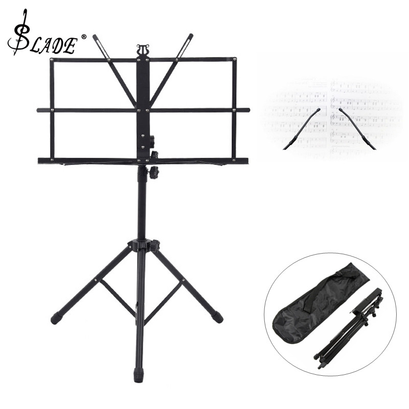 Foldable Music Sheet Tripod Stand Aluminum Alloy Music Stand Holder Height Adjustable With Carry Bag For Musical Instrument