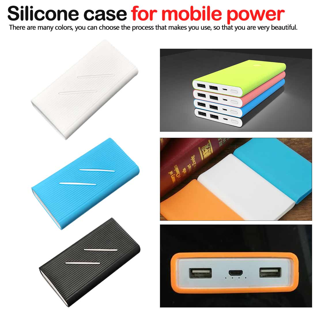 Plain Accessory Silicone Case Cover for New Millet 2 10000mAh Dual USB Mobile Power supply Power Bank Powerbank image