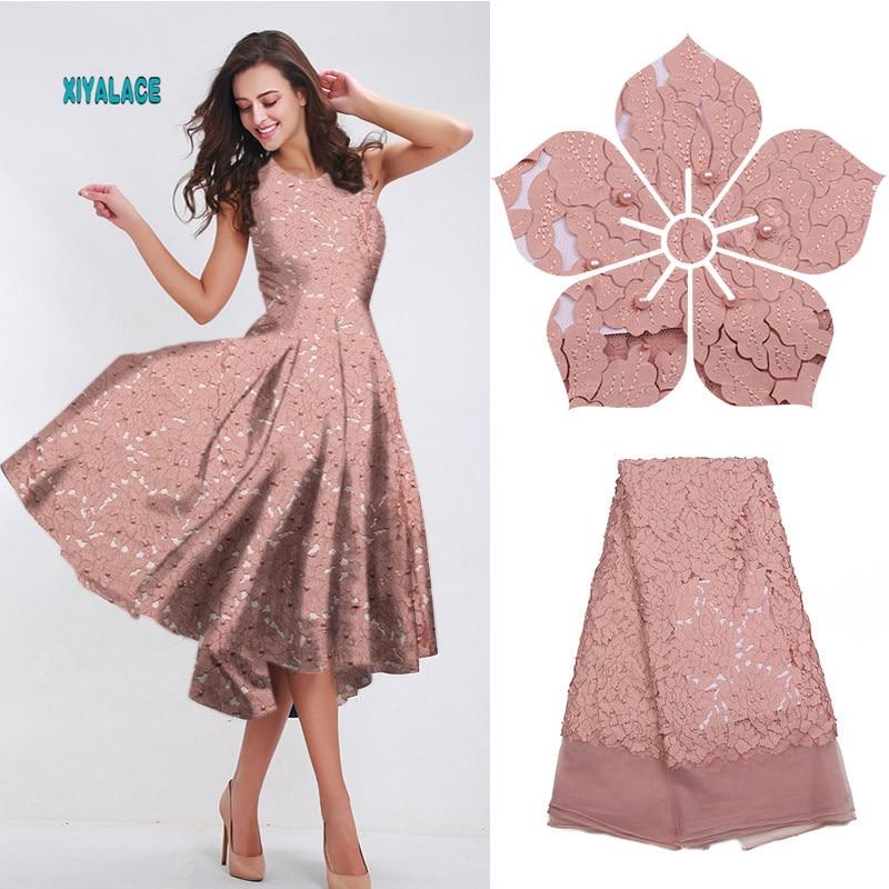 Pale Pink Nigerian African Lace Fabric Beads Lace Fabric Embroidered Laces Fabric Beaded African Wedding Party Dress YA1757B-11