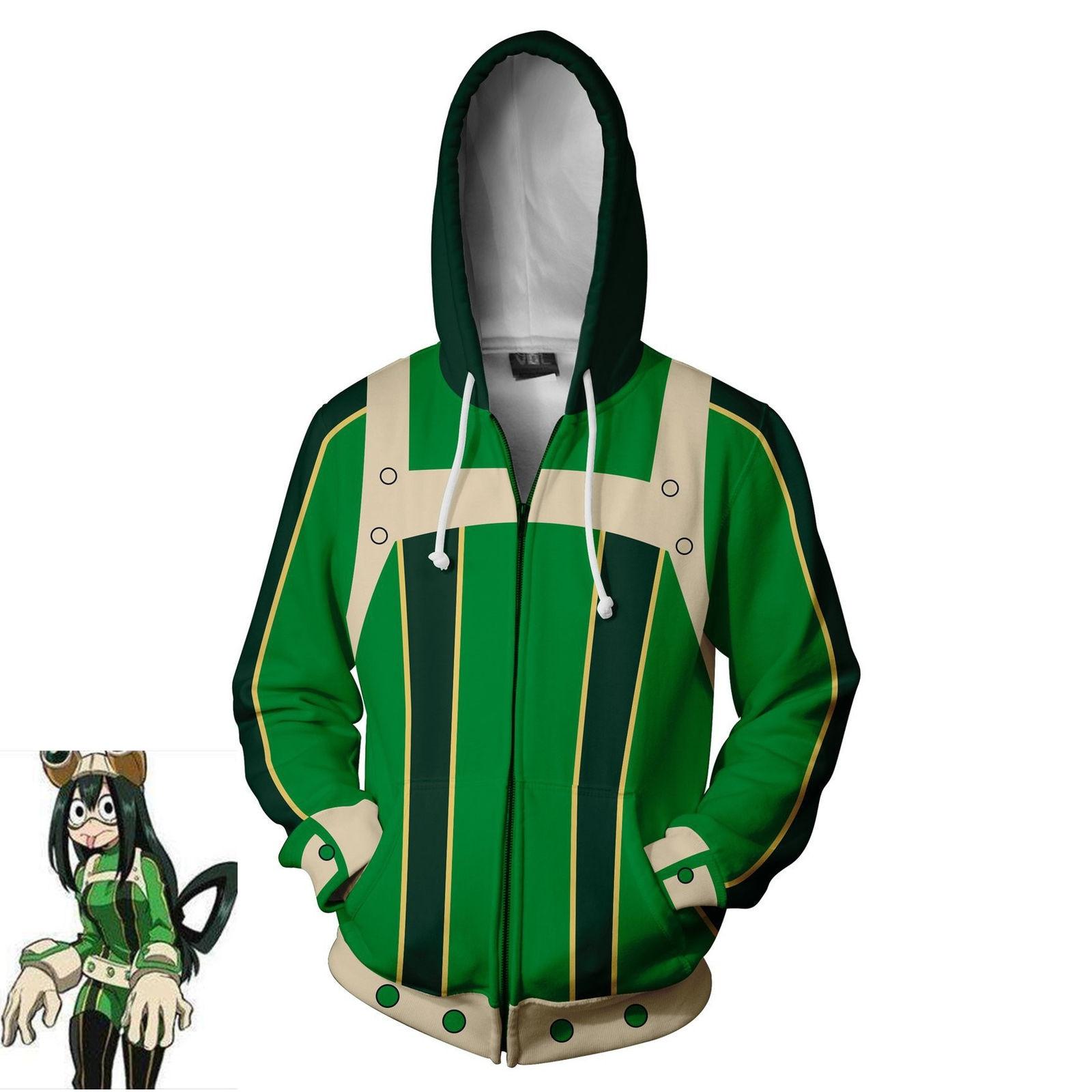 Anime Boku No My Hero Academia Asui Tsuyu Hoodie Sweatshirt Zipper Coat Cosplay Costume