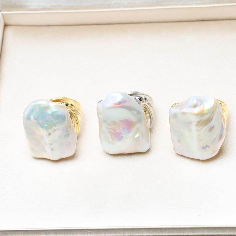 BaroqueOnly 100% anneaux de perles baroques d'eau douce naturelles 925 bague en argent Sterling bijoux pour femmes cadeaux 22-25mm - 5