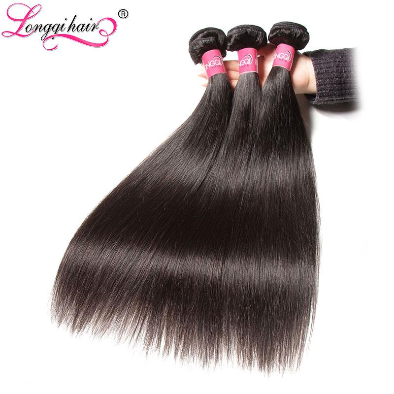Longqi Hair Straight Hair Bundles Malaysian Human Hair Extensions 3 Bundle Deals 8 30 Inch Natural