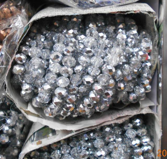 Unids plata Color blanco 3*4mm 145 piezas Rondelle Austria cuentas de cristal facetadas espaciador suelto cuentas redondas para hacer joyas
