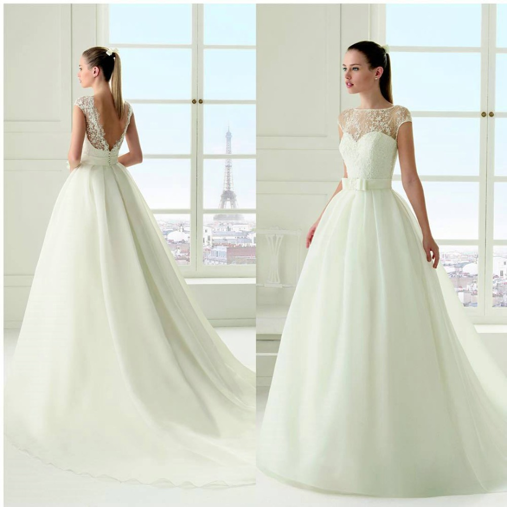 Elegant White Wedding Dresses with Cap Sleeves Beaded Appliques Boat ...
