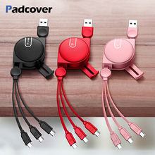 PADCOVER USB Cable 150cm 3 in 1 For iPhone X 5 6 7 8 Mobile Phone Type C Micro Android Charger