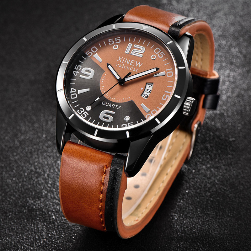 2017 Luxury Fashion Men Watches Military Leather Waterproof Date Quartz Analog Army Men's Quartz Wrist Watches цена 2017