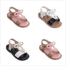 Mini Melissa Style Patchwork Bow Girls Jelly Sandals 2019 Summer Lovely Toddler Shoes Non-slip 14cm-18cm