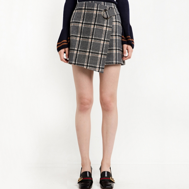 HDY Haoduoyi 2017 Fashion Preppy Style Skirts Women High Waist Female Plaid Mini Skirts Asymmetrical Casual Ladies Skirts 7