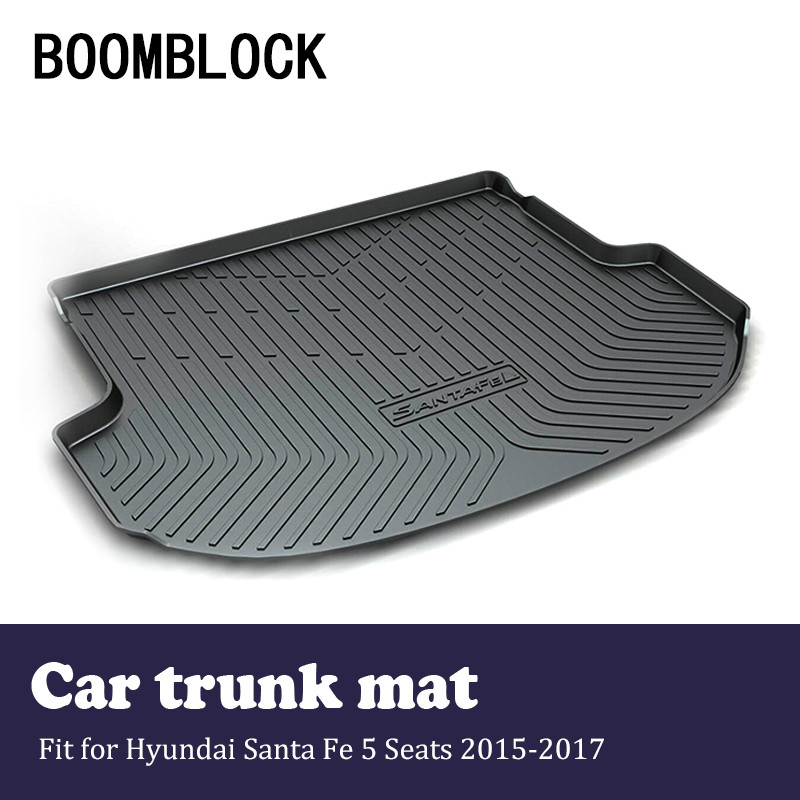 BOOMBLOCK For Hyundai Santa Fe 5 Seats 2015 2016 2017 Waterproof Anti-slip Car Trunk Mat Tray Floor Carpet Pad Auto Accessories 5 seats 1 set customs car floor mat leather waterproof front
