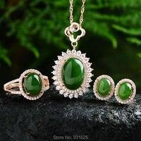 Серебра 925 натуральный зеленый Хотан Yu драгоценного камня инкрустация кулон Цепочки и ожерелья серьги кольца + сертификат Мода Ювелирные ук