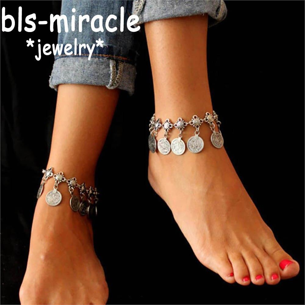 Женский винтажный браслет Bls miracle, модные украшения для ног в богемном стиле с металлической кисточкой, подарок на лето, пляжный A 12 Анклеты      АлиЭкспресс