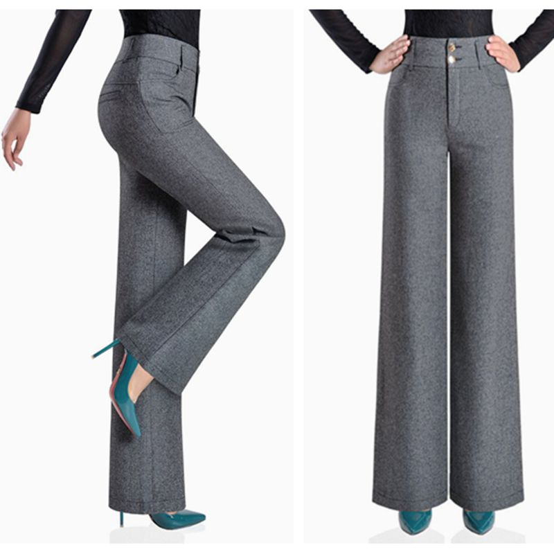 Women's high waist   wide     leg     pants   trousers casual fashion solid color drape wild big yards   wide     leg     pants