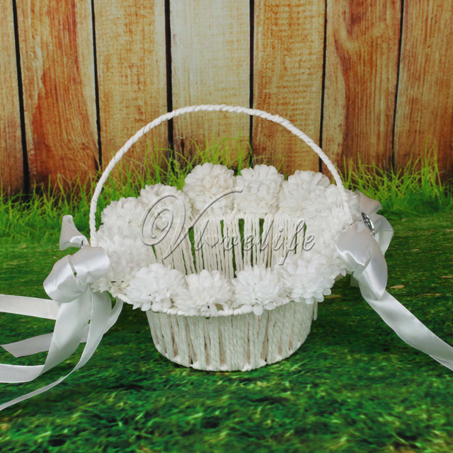 White Flowers Wedding Basket for Flower Girl Basket with Satin ...