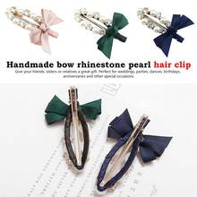 Fashion Handmade Ribbon Bow knot Pearl Hair Clips Girls Women Lady Metal Crystal Hairpins Cutey Accessories Barrette