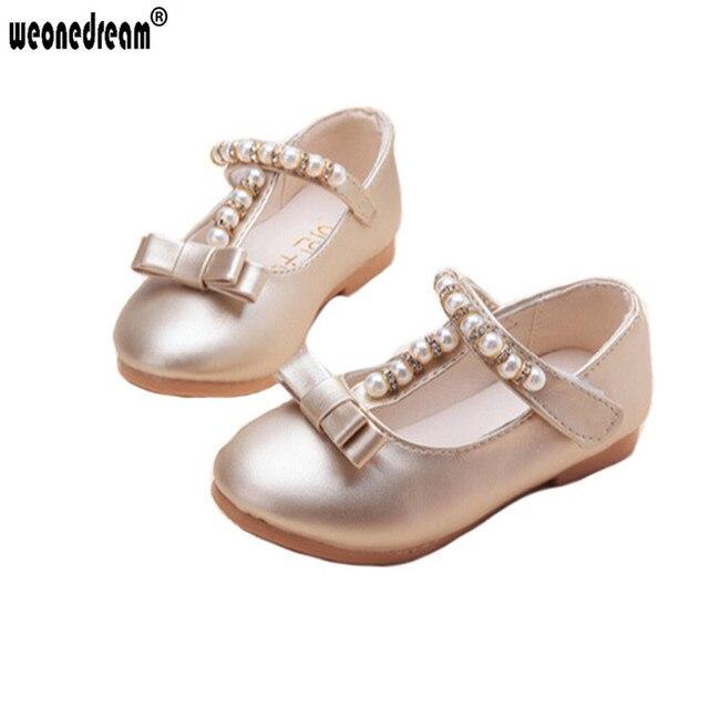WEONEDREAM Party Girls Shoes Новая Мода 2017 Детские Дети Дети Девочка  Принцесса Кожаные 3 Цвета Обуви 153bae1660f