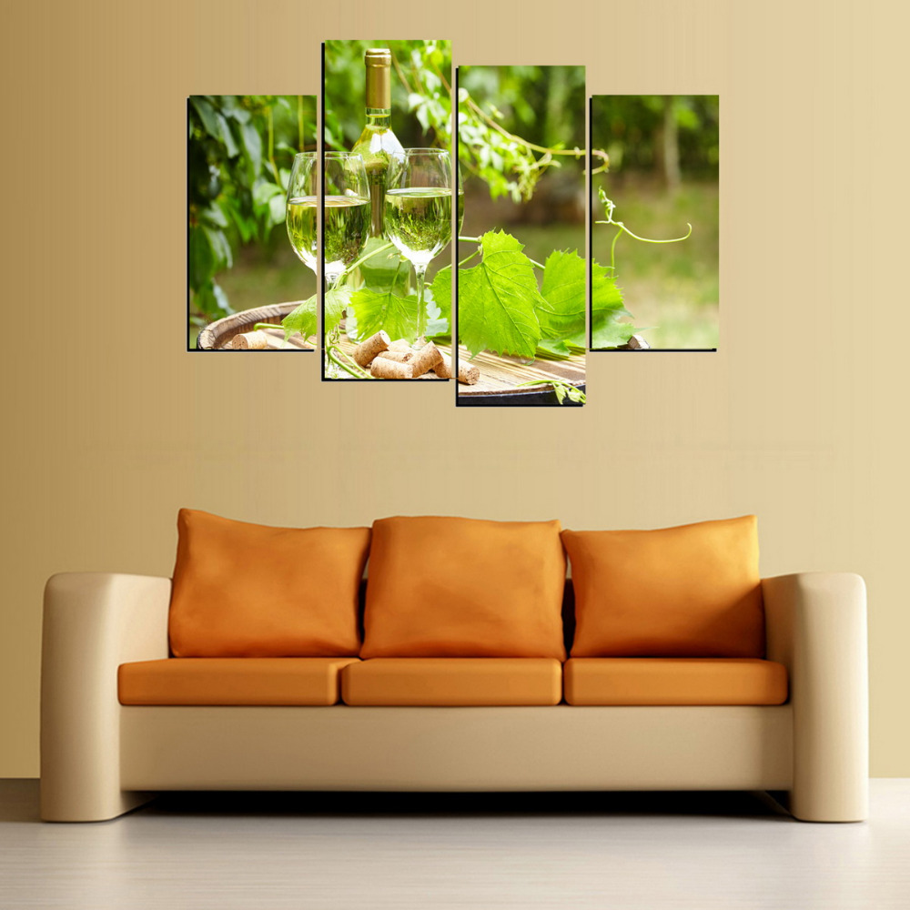 4 Panels Green Grape Leaves And Champagne Canvas Print Painting for ...
