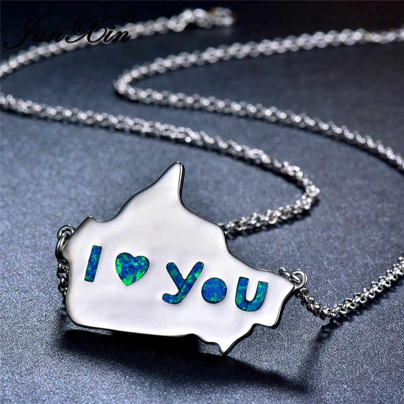 JUNXIN amour Canada carte pendentifs pour femmes 925 en argent Sterling rempli blanc bleu opale de feu collier femmes de mariage lettres Choker