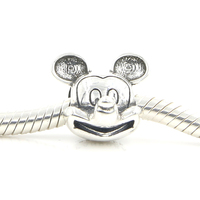 Cute Authentic S925 Sterling Silver Beads Mikey Mouse Charm Beads Fit Original Pandora Bracelet Pendant Women