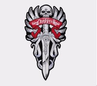 20 inches large Embroidery Patches for Jacket Back Motorcycle Biker Huge Sword Skull Sew on or Iron on