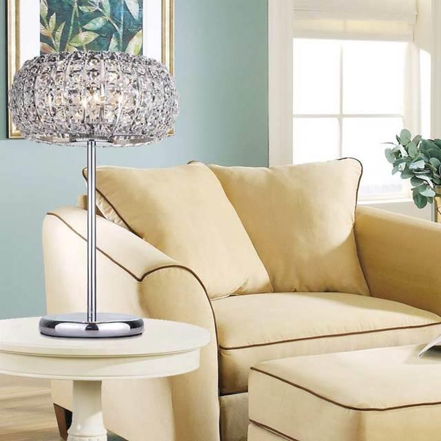 Modern Crystal Table Lamps For Living Room Bedroom Iron Chrome Lamp Shades  Bedside Design Desk Light