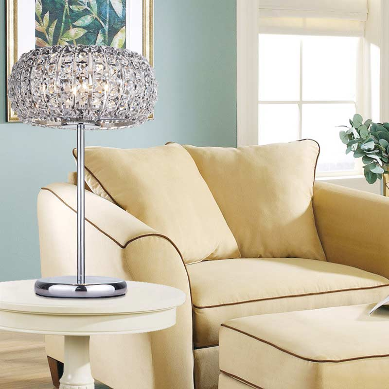 Modern Crystal Table Lamps For Living Room Bedroom Iron Chrome Lamp Shades Bedside Design Desk Light