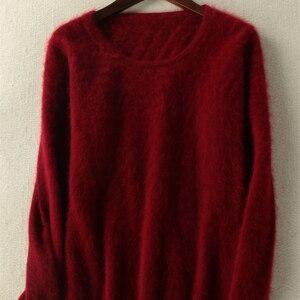 Image 4 - 2020 outono inverno camisola feminina 100% mink cashmere suéteres e pulôver macio quente topos feminino o pescoço manga longa básico jumper