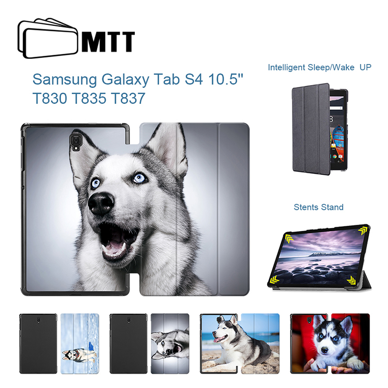 MTT Magnetic Trifold Stand Cover For Samsung Galaxy S4 10.5 HUSKY Dog Leather Case For Samsung Tab S4 2018 10.5 inch T830 T835 наушники samsung galaxy s5 s4 s3 3 2 s4 ace ej 10