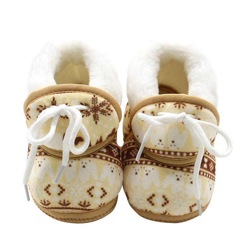 Vintage Pattern Baby Winter Warmer Fleece Toddler Kids Boy Girls Soft Cotton Lace Up Shoes 6-12M