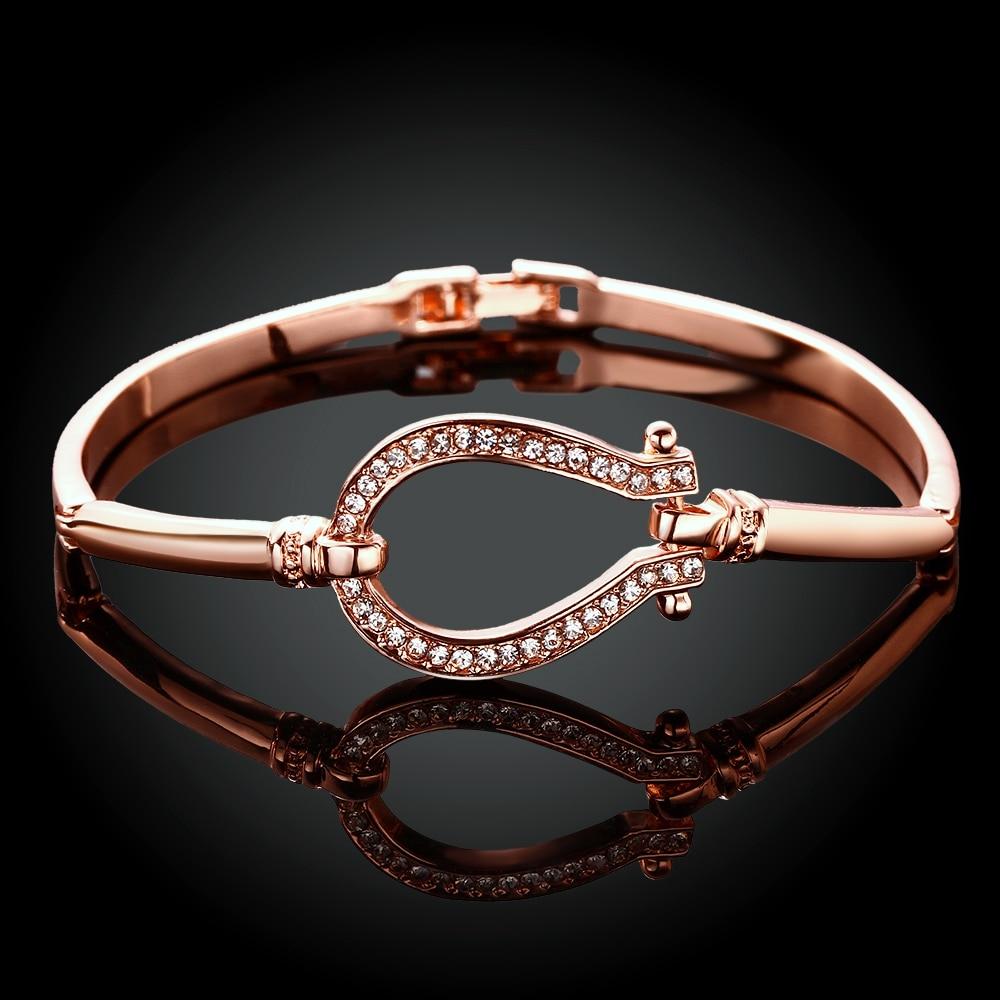 Good Quality 2016 New Fashion Jewelry rose Gold Colour Bracelets bangles Horse Shoe Bangle water drop Bracelet free shipping