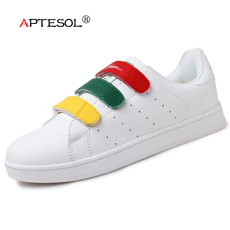 APTESOL New Womens PU Vulcanize Shoes Unisex Couple Fashion Hook&Loop Massage Casual Shoes Breathable Lightwight Sneakers Women