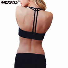 2017 Women Sport Bras Sexy Double Bandeau T-Back Bras Running Top Yoga Bra Fitness Vest Gym Underwear Padded Seamless No Rims(China)