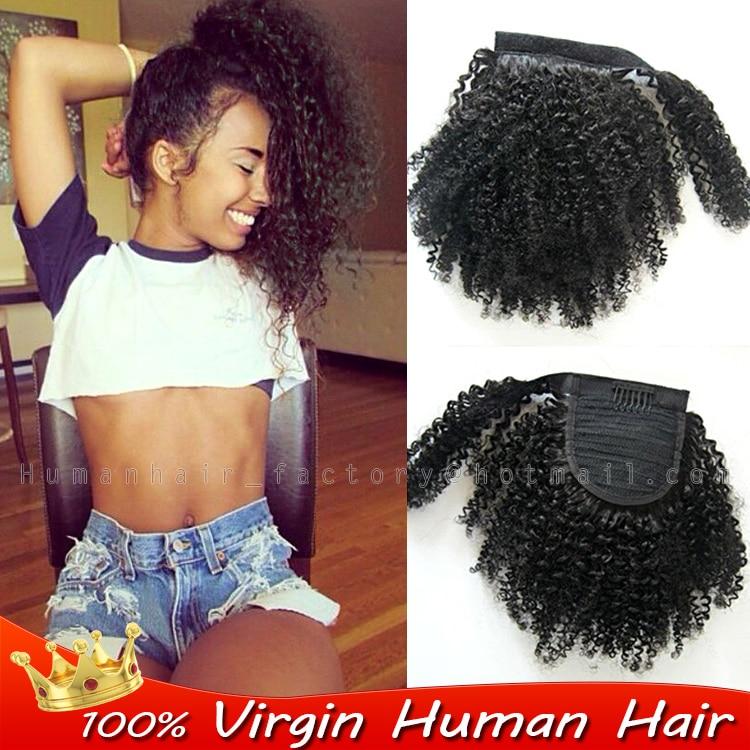 Brazilian Kinky Curly Wrap Around Ponytail Human Remy Hair