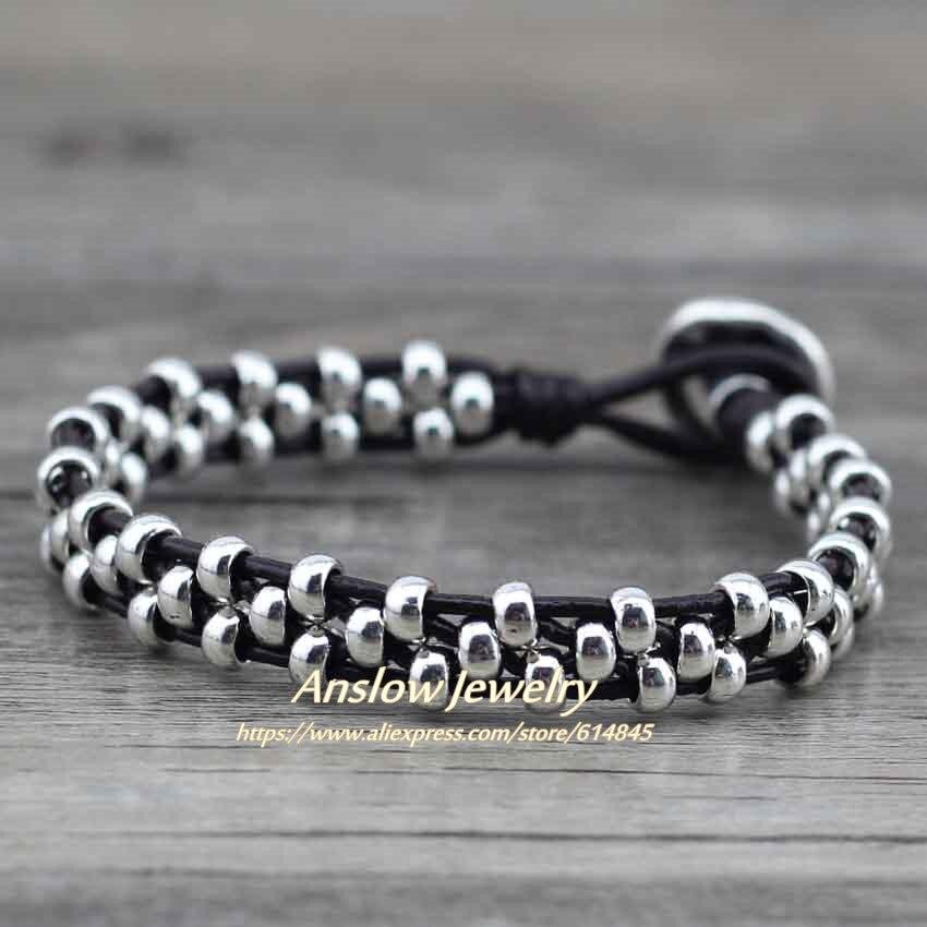 Anslow New Arrival Items Healthy Zinc Alloy Beads Women Men Girls Leather Bracelet Bijoux Charm Jewelry Accessories LOW0383LB 6