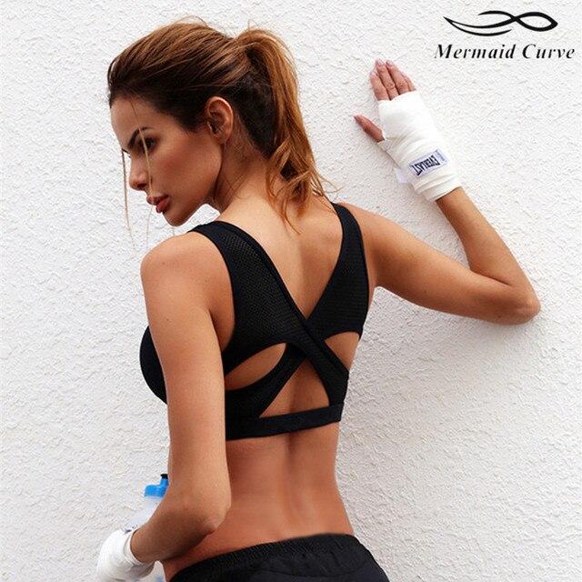 016e6b9e3c 2017 Sexy Womens Back Cross Yoga Push Up Sports Bra Gym Running Padded Bras  Breathable Mesh Shockproof Sport Bra Top