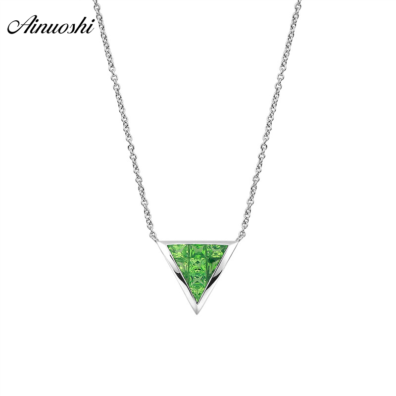 AINUOSHI 18K Genuine Gemstone Natural Green Garnet Necklace 10mm Triangle Shaped Pendant Exquisite Pendant Necklaces Link Chain