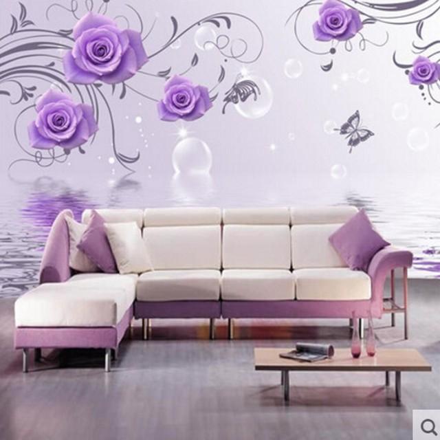 Buy 3d stereoscopic purple rose flower for Purple bedroom wallpaper