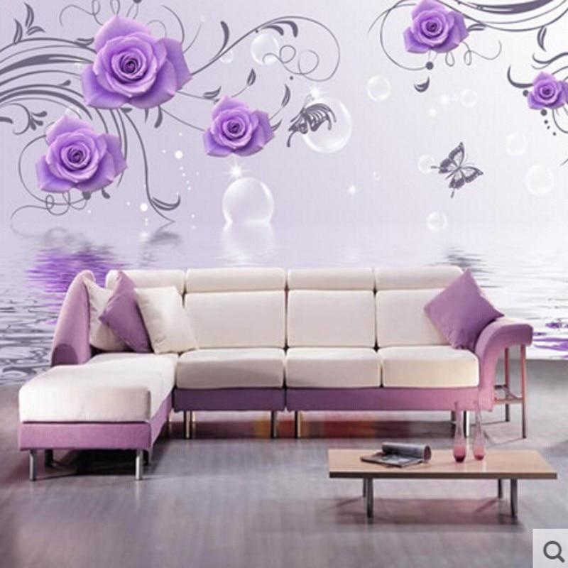 Beibehang Wallpaper Purple Rose Flower Decorative Large Mural Wallpaper  Background Wallpaper Bedroom Wallpaper For Living Room