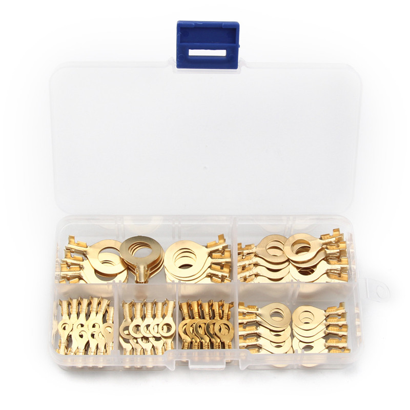 цена на YT 150PCS Ring Type Gold Golden Brass Non-insulated Crimp Terminals Connectors Cable Wire Connectors Terminals
